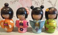 Hand Painted Colourful Kokeshi Doll Girl  - Set of 4